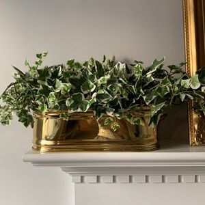 """Large Shiny Golden Bristol Brass Planter 13""""win box with handles made in USA"""
